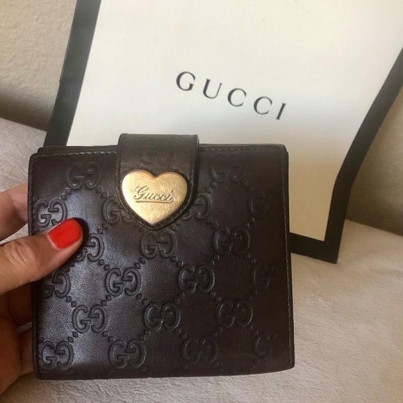 Gucci Handbags - GUCCI GG Guccissima Brown Leather Heart Wallet